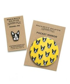 Smarty Pants Paper Co. Yellow Boston Terrier Pocket Mirror and Pin | zulily