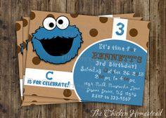 Custom Sesame Street Cookie Monster Birthday Party invitation!! Digital, printable download invite!