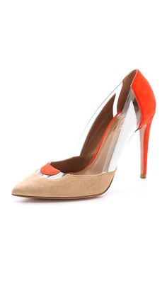 Aquazzura Positano Pumps  A LOT GOING ON HERE.  THE COLOR IS NUDE/BLOOD ORANGE/WHITE.