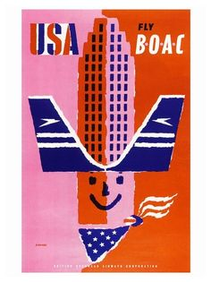 Abram Games Fly BOAC poster