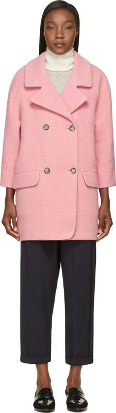 YMC - Pink Wool Double-Breasted Coat