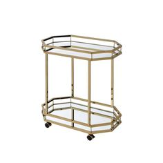 Acme Furniture Lacole Bar Cart - Gold & Mirror