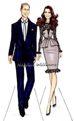 Hayden Williams Fashion Illustrations, Wills & Kate by Hayden Williams