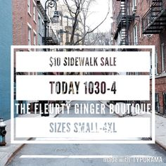 $10 Sidewalk Sale TODAY  1030-4 200 Bell Lane WM 318.884.7467 Sizes Small-4XL . . ALL SALES FINAL NO OTHER DISCOUNTS APPLIED NO EXCEPTIONS AT ALL #thefleurtygingerboutique #northlouisianasplussizeheadquarters #shoplocal #shoptfgb #sweetsummertime @thefleurtygingerboutique