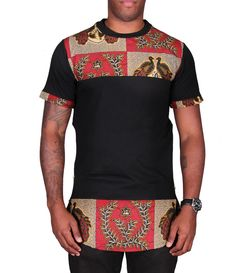 Ankara Longline T-Shirt Baby African Clothes, African Wear Dresses, African Clothing For Men, African Shirts, Latest African Fashion Dresses, African Print Fashion, Africa Fashion, African Attire, African Street Style