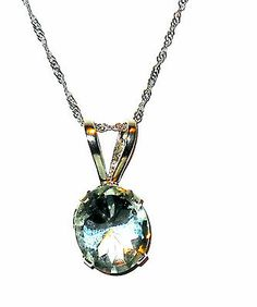 3.50ctw Green Amethyst Prasiolite Solitare Pendant 14k White gold http://stores.ebay.com/JEWELRY-AND-GIFTS-BY-ALICE-AND-ANN