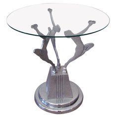 Frankart Style Art Deco Figural Chrome and Glass Side Table