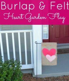 Tutorial: Heart garden flag from burlap and felt