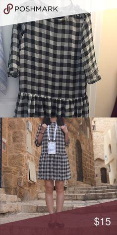 ASOS Drop Waist Dress in Sheer Gingham A fun little checkered day dress, U.K. Size 10/ US size 6, but fits like size 4. ASOS Dresses Midi