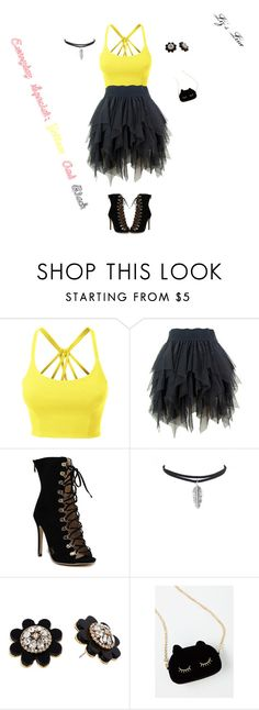 """""""Everyday Special: Yellow And Black"""" by elirana-chase on Polyvore featuring LE3NO and Kate Spade"""