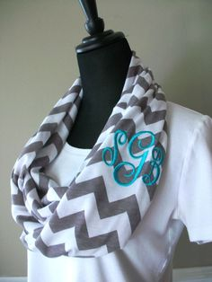 Monogrammed chevron infinity scarf, custom monogram or greek letters, gray and white chevron knit jersey