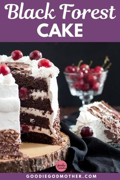 This beautiful Black Forest Cake is fancy and traditional, sure to please for the Holidays! Chocolate and cherries make a lovely combination in this famous German layer cake. This is a delicious black forest cake recipe sure to please! New Year's Desserts, Single Serve Desserts, Trifle Desserts, Desserts For A Crowd, Winter Desserts, Cute Desserts, Party Desserts, Christmas Desserts, Delicious Desserts