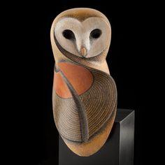 Barn Owl wood sculpture by Rex Homan