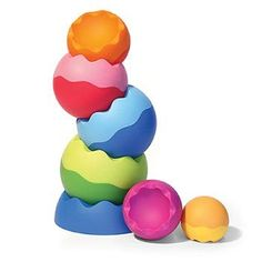 Fat Brain Toys Tobbles Neo Innovative tactile toy with 6 weighted spheres. Unique grippable texture with playful curves. Fun to stack, spin, tilt, wiggle, and wobble. Sequel to the original kid-pleasing Tobbles. Great for developing fine motor skills.  #FatBrain #BabyProduct