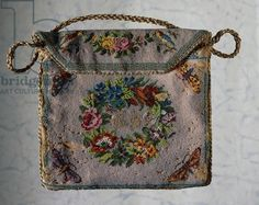 Front of handbag, embroidered with glass beads, depicting little birds, butterflies and garland of flowers, containing the initials, 19th century