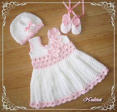 Crochet Dress hat and Shoes set crochet baby by NedinetCreations