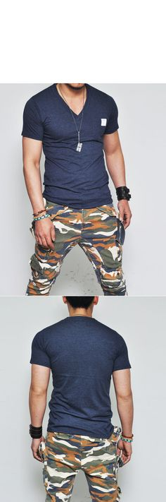 Tops :: Tees :: Special Price Sexy Slim V-neck Pocket-Tee 162 - Mens Fashion Clothing For An Attractive Guy Look
