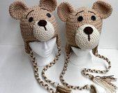 Crochet Handmade Teddy Bear Hat Animal Brown Toque Beanie Toddler  Boy Girl Child Teen Adult kids