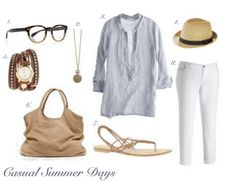 white jeans are great by the water!  love the light blue top for a nautical look, and the accessories are great.