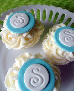 Monogram Cupcake Toppers Edible Initial Cake by SugarCakeShop, $14.75