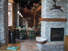 Caribou Coffee has a great cabin feel to their locations