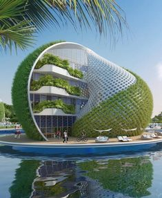 "30 Amazing Green Building Architecture Design Ideas - The latest trend in new home construction is ""green building"". Most people equate green building with efficient or renewable materials. Unique Architecture, Futuristic Architecture, Sustainable Architecture, Landscape Architecture, Building Architecture, Building Design, Hotel Design Architecture, Architecture Sketchbook, Pavilion Architecture"