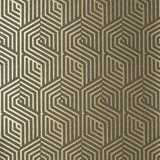 Nobilis Chicago Wallpaper Is Of Pure Art Deco Style Featuring A Geometric Hexagonal Drawing Similar To Labyrinth Available In 4 Bicolored Metallics