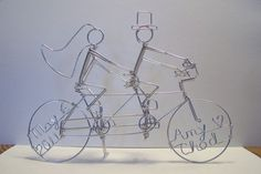 (Almost) DIY Unique cake topper from Etsy- tandem bike :  wedding bicycle topper Tandembike Topper