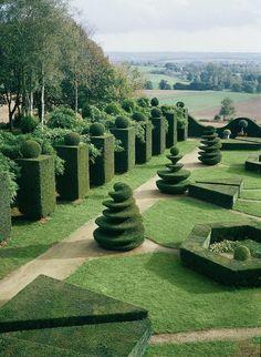 The topiary garden of the  Chateau de la Ballue.