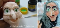Halloween witch cake topper face tutorial by Alessandra Caldeira.