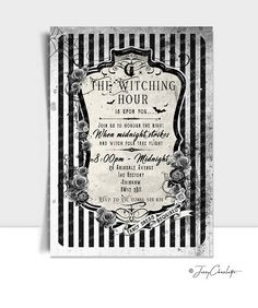 A personalised black and white Halloween party invitation with a gothic vintage rose design.   *Personalisation available - message for details*   ♥ WHAT AM I PURCHASING? || This listing is for a selection of high resolution 300dpi digital JPG/PDF files   ♥ WHAT IS THE SIZE? || The print sizes are 7 x 5 inches once cut - the PDF files contain a dashed border as a guideline for cutting the invitations ♥ HOW WILL I RECEIVE MY PRINTABLE? ||  *THIS IS NOT A PHYSICAL ITEM, NO PRINTABLES WILL ...