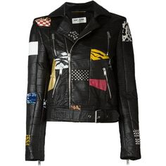 Saint Laurent Patchwork Moto Jacket ($9,990) ❤ liked on Polyvore featuring outerwear, jackets, tops, coats & jackets, coats, kirna zabete, multi color jacket, multi colored jacket, moto jackets and motorcycle jacket