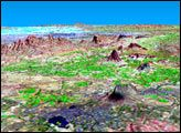 SRTM Perspective View with Landsat Overlay: Bhuj, India - 04/06/2001  : Image of the Day : NASA Earth Observatory