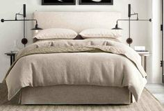 Simple headboard on bed frame, with tailored bed skirt