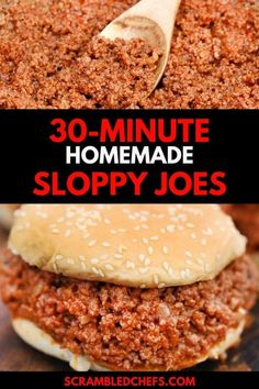 Turn ground beef into this delicious 30-Minute Sloppy Joe's Recipe that everyone will devour in seconds!  Simple and easy, this meal is sure to be a hit! #SloppyJoes #30MinuteMeal #SloppyJoeRecipe #GroundBeefMeals #ScrambledChefs #EasyDinner Homemade Sloppy Joe Recipe, Homemade Sloppy Joes, Sloppy Joes Recipe, Easy Sandwich Recipes, Dinner Sandwiches, 30 Minute Meals, Ground Beef Recipes, Cooking, Simple