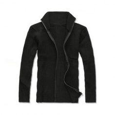 $13.76 Fashionable Simple Design Zipper Black Cardigan For Men