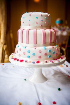stripes & polka dot wedding cake, image by http://www.mcbethphotography.com/