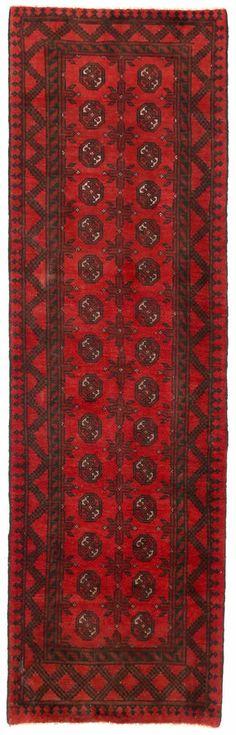 "2'8"" x 9'3"" AFGHAN TURKMEN Tribal Hand Knotted Wool RED BLACK New Oriental Rug #Unbranded #AfghanTurkmenGeometricTribal"