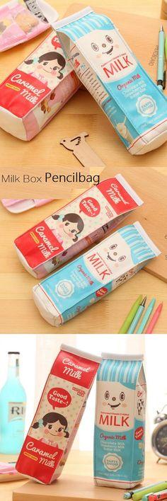 1pcs/lot Milk Box waterproof PU Pencil case Students' gift Multifunction Organizer Bag School Office Supply Escolar Papelaria