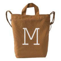 Custom Letter M Initial Monogram BAGGU Duck Bag Duck Canvas Bag