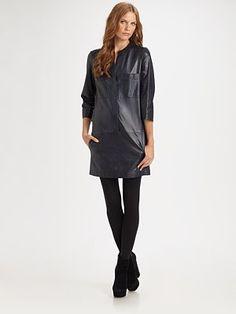 Vince Lambskin Leather Shirt Dress