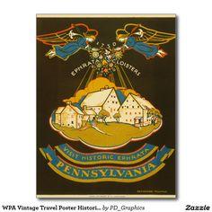 WPA Vintage Travel Poster Historic Ephrata Pennsyl Postcard