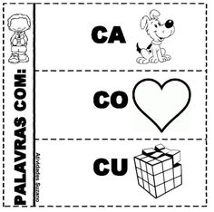 Atividade interativa com sílabas - Atividades Adriana Phonological Awareness, Spanish Activities, Teaching, Writing, Strategy Games, Preschool Literacy Activities, Interactive Activities, Letter E Activities, 1st Grades