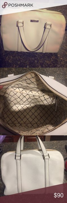 Kate spade handbag Soft grey Kate spade handbag with cute patterned interior. Exterior is free of any damage and the interior has a few wear marks. Perfect for summer! Bags Totes