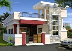 front elevation designs for duplex houses in indiaIndependent house for Sale in Koti , Hyderabad ₨ 3 BR, 97 m²Hoom Dizain - Home Design Village House Design, Bungalow House Design, Duplex House, Village Houses, Single Floor House Design, House Front Design, Small House Design, Modern House Design, Duplex Design