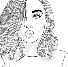 cool coloring pages for teenage girls Tumblr Girl Drawing, Tumblr Sketches, Tumblr Drawings, Girl Drawing Sketches, Girly Drawings, Girl Sketch, Drawing Style, Drawing Ideas, Girl Outlines