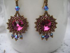 Bead Woven Fuchsia Swarovski Crystal by SleepingCatDesigns on Etsy, $35.00