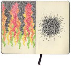 Drawing Doodles Sketchbooks part 2 of sketchbook exploring obsessive patterns - Doodle Inspiration, Sketchbook Inspiration, Art Sketchbook, Doodle Drawings, Cartoon Drawings, Easy Drawings, Zen Doodle, Doodle Art, Book Illustration