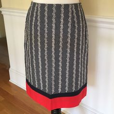 """NWT Talbots cotton pencil skirt Talbots cotton skirt in a great summer color palate. All over blue and white pattern with a contrasting red band at the bottom. 29"""" waist, 22.5"""" long. Never worn. Talbots Skirts Pencil"""
