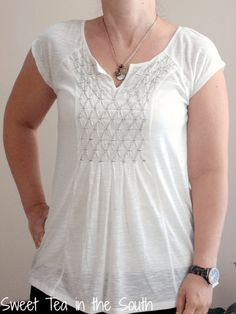 July 2015 Stitch Fix Hem and Thread Gabrie Smocked Knit Tee | Sweet Tea in the South